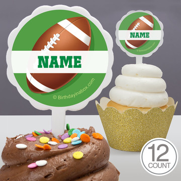 Football Party Personalized Cupcake Picks (12 Count)
