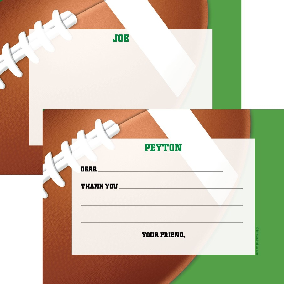 View larger image of Football Party Personalized Thank You Note