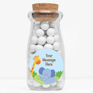 "Forest Friends Personalized 4"" Glass Milk Jars (Set of 12)"