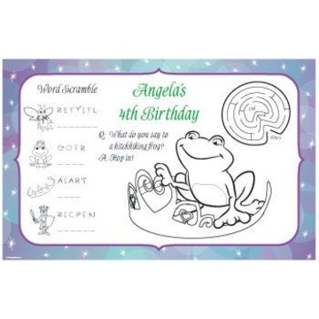 Frog Princess Personalized Activity Mats (8-pack)