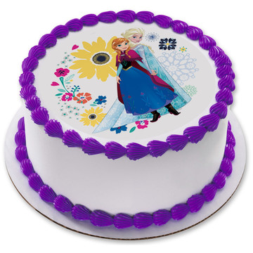 """Frozen Sisters 7.5"""" Round Edible Cake Topper (Each)"""