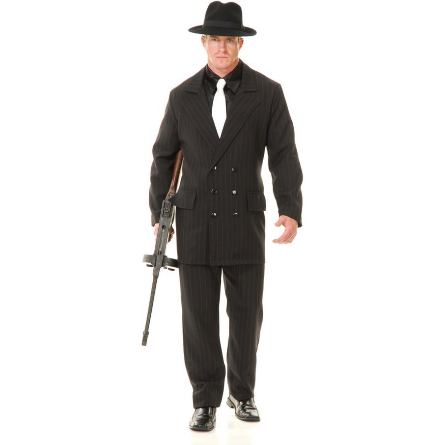 View larger image of Gangster Double Breasted Suit (Black/Red) Adult Costume
