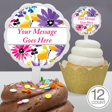 Garden Blooms Personalized Cupcake Picks (12 Count)