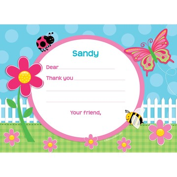 Garden Party Personalized Thank You Note (each)