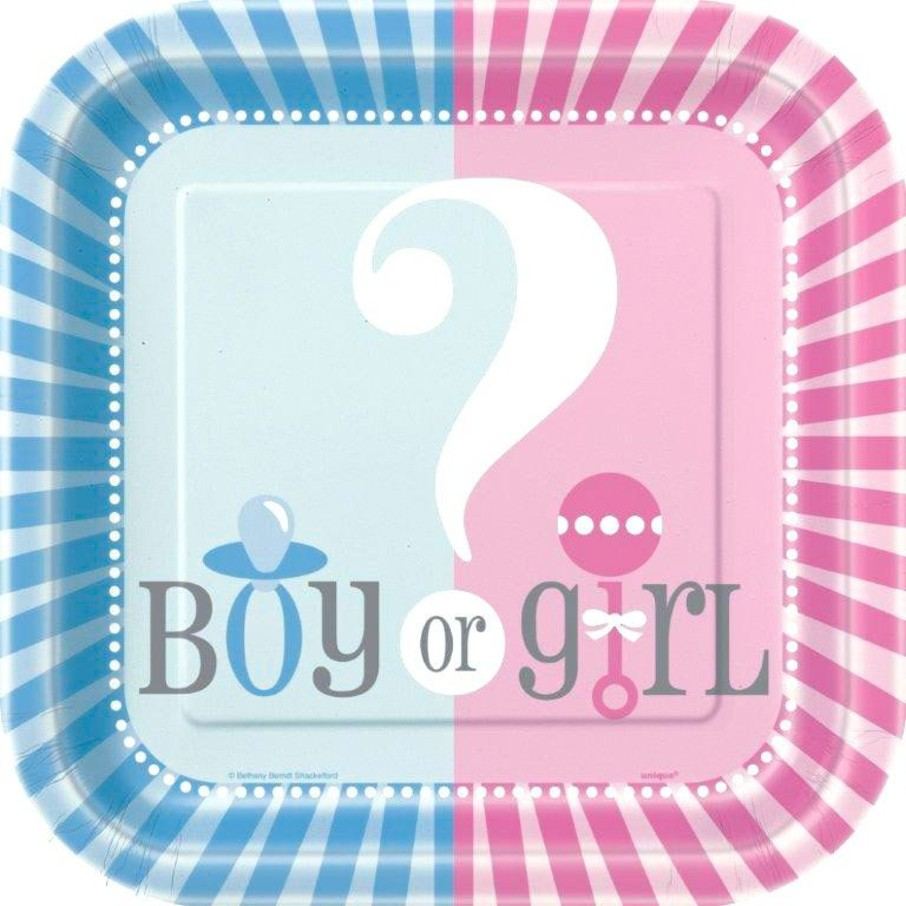 "View larger image of Gender Reveal 7"" Cake Plates (10 Pack)"