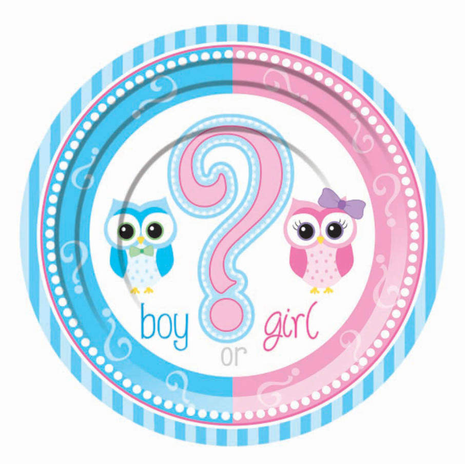 "View larger image of Gender Reveal 7"" Cake Plates (8)"