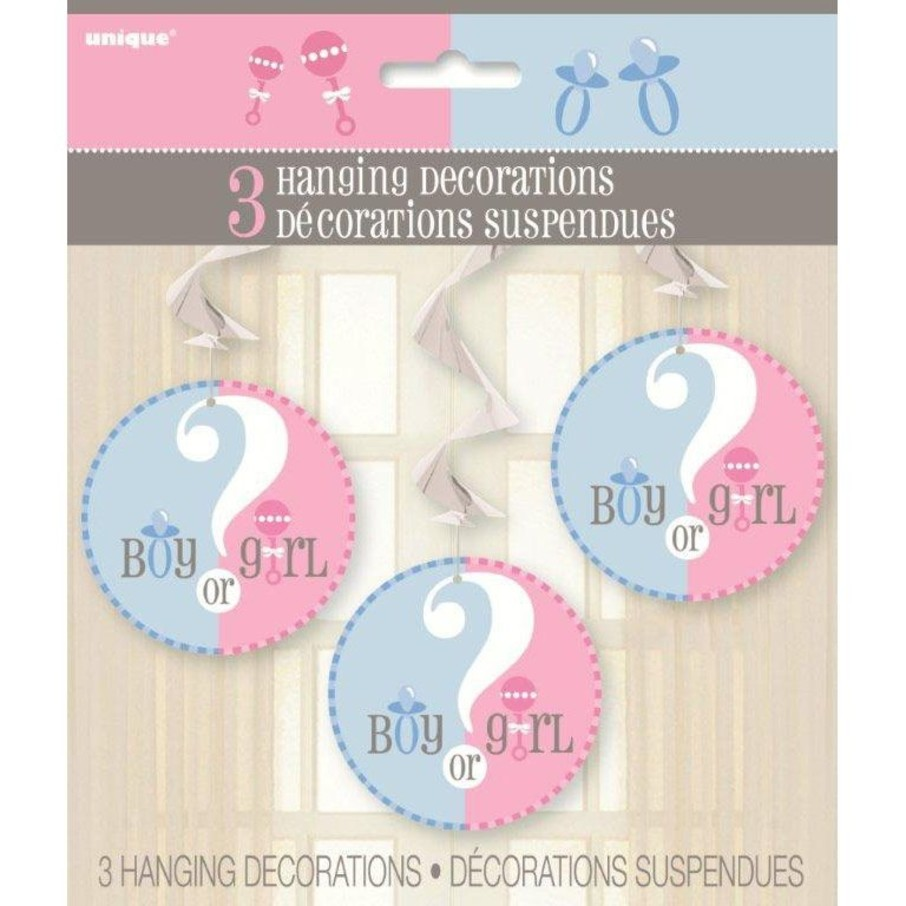 View larger image of Gender Reveal Hanging Swirl Decorations (Each)