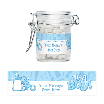 Gender Reveal: It's a Boy Personalized Swing Top Apothecary Jars (12 ct)