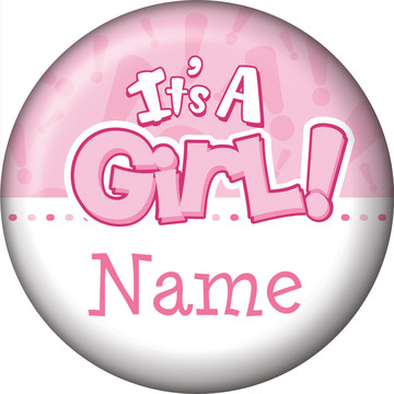 Gender Reveal: It's a Girl Personalized Mini Button (Each)