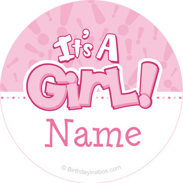 Gender Reveal: It's a Girl Personalized Mini Stickers (Sheet of 24)