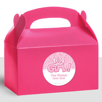 Gender Reveal: It's a Girl Personalized Treat Favor Boxes (12 Count)
