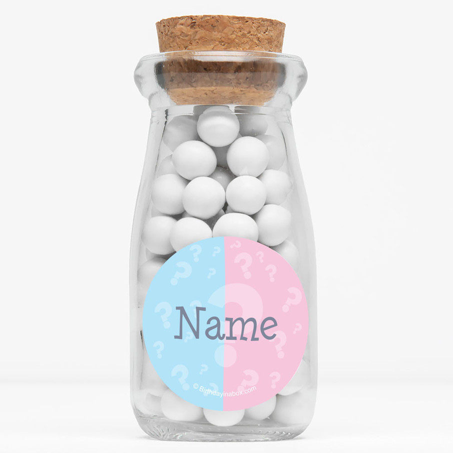 """View larger image of Gender Reveal Personalized 4"""" Glass Milk Jars (Set of 12)"""