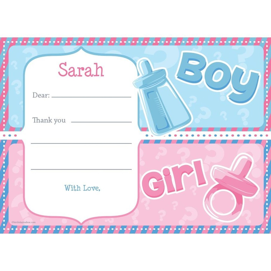 View larger image of Gender Reveal Personalized Thank You Note (Each)