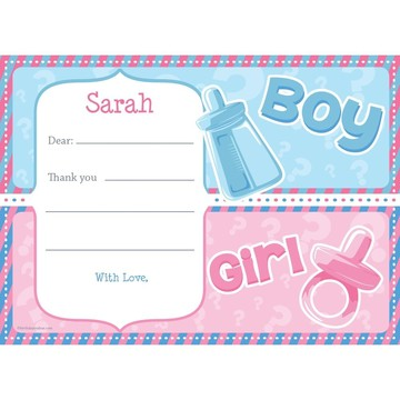 Gender Reveal Personalized Thank You Note (Each)