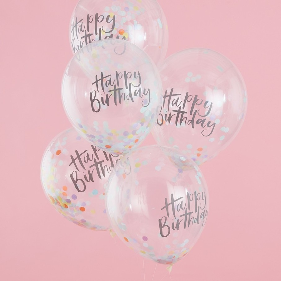 View larger image of Ginger Ray Confetti Happy Birthday Latex Balloons, 5ct