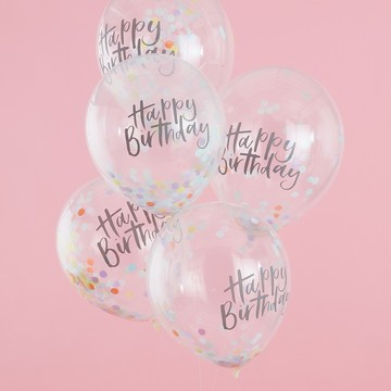 Ginger Ray Confetti Happy Birthday Latex Balloons, 5ct