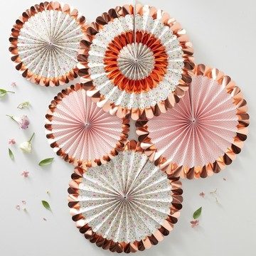 Ginger Ray Ditsy Floral Fan Decorations, 5ct