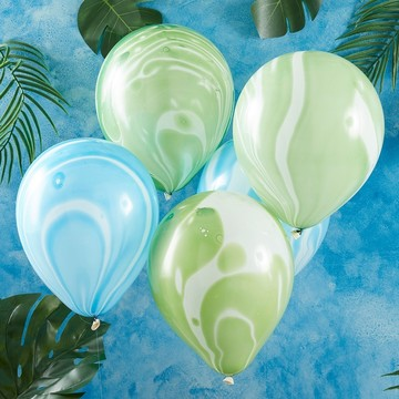 Ginger Ray Green & Blue Marble Latex Balloons, 10ct