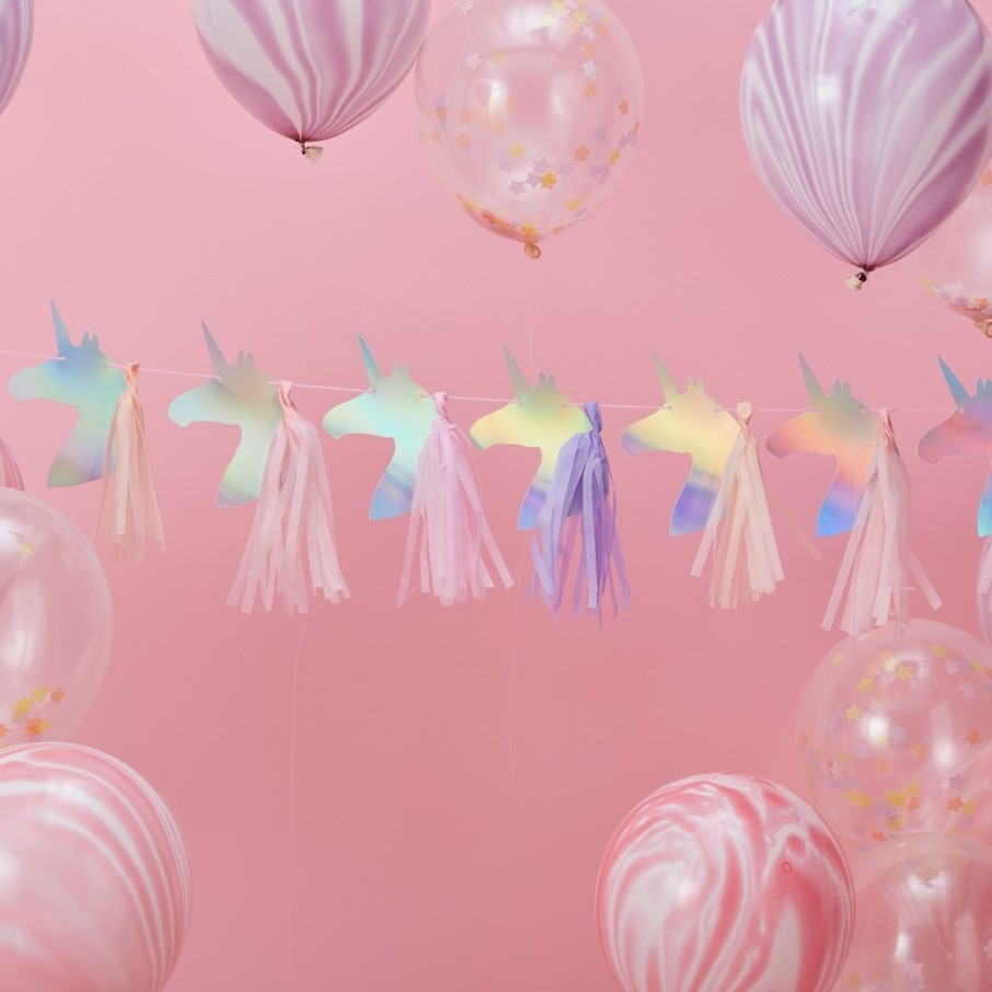 View larger image of Ginger Ray Make a Wish 5' Foiled Unicorn Tassel Garland Banner