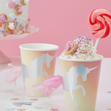 Ginger Ray Make a Wish Foiled Unicorn Tassel Paper Cups, 8ct