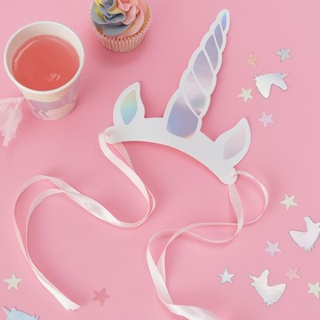 Ginger Ray Make a Wish Unicorn Horn Party Hats, 8ct