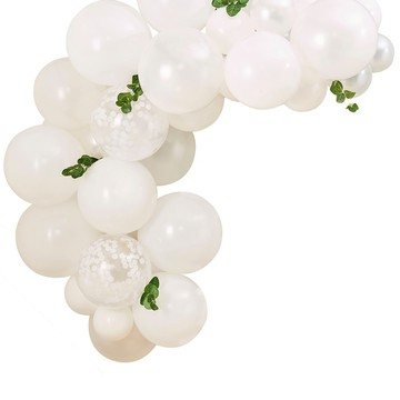 Ginger Ray Mini White Balloon Arch With Foliage