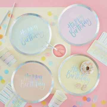 Ginger Ray Pastel Party Assorted Foil Happy Birthday Lunch Plates, 8ct