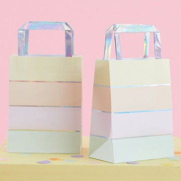 Ginger Ray Pastel Party Foil Stripe Treat Bag, 5ct