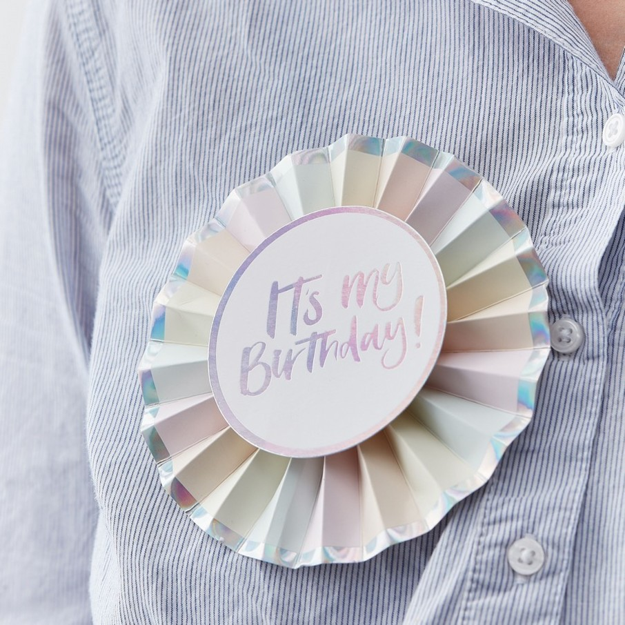 View larger image of Ginger Ray Pastel Party It's My Birthday Rosette Foiled Badge