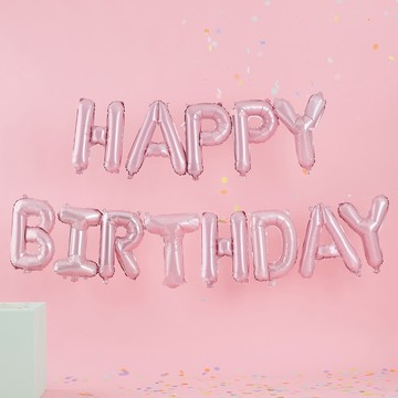Ginger Ray Pastel Party Light Pink Happy Birthday Balloon Banner