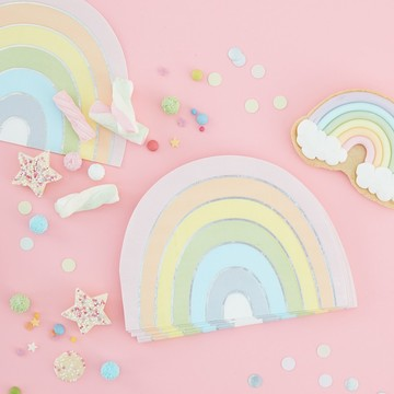 Ginger Ray Pastel Party Pastel Rainbow Beverage Napkins, 16ct