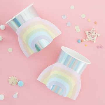 Ginger Ray Pastel Party Pop-Out Rainbow 9oz. Cups, 8ct