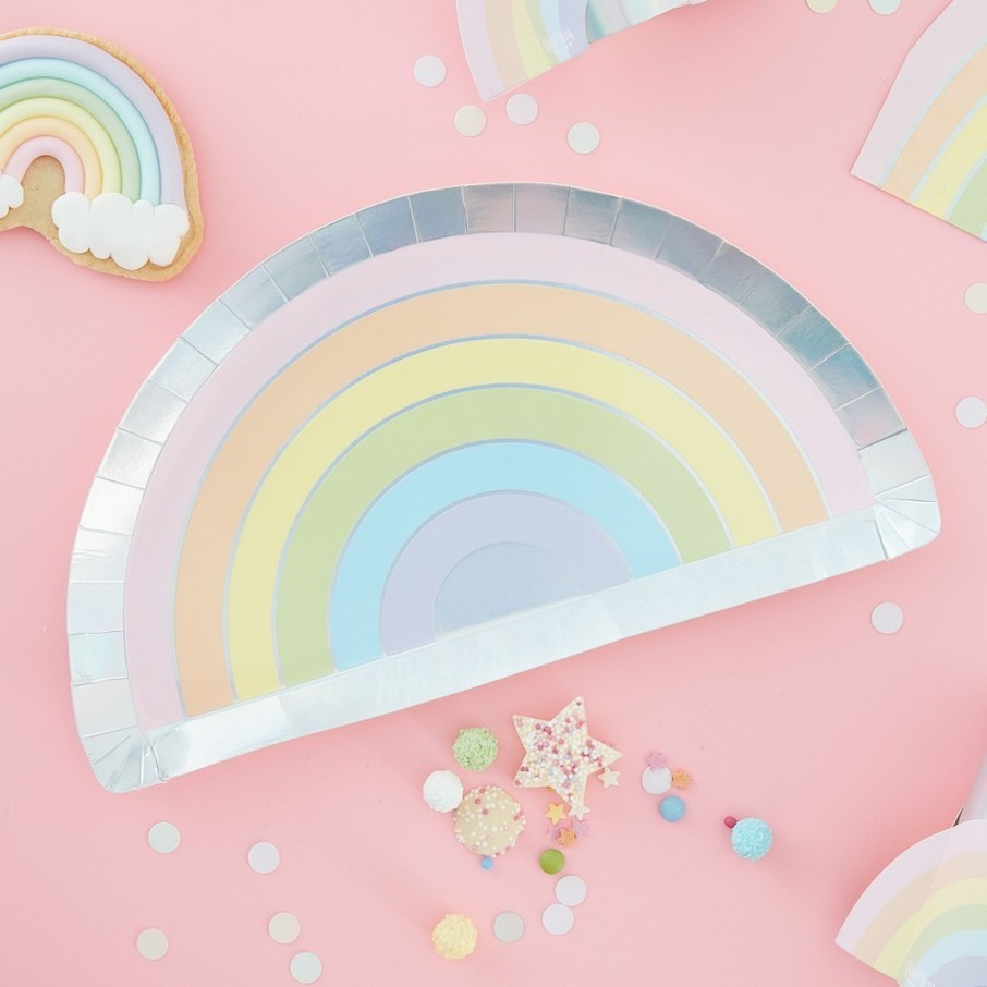 View larger image of Ginger Ray Pastel Party Rainbow Shape Foiled Lunch Plates, 8ct