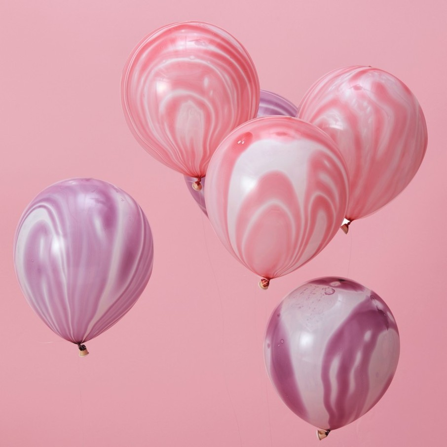 View larger image of Ginger Ray Pink & Purple Marble Latex Balloons, 10ct