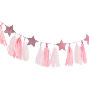 Ginger Ray Pink Tassel Garland With Pink Glitter Stars