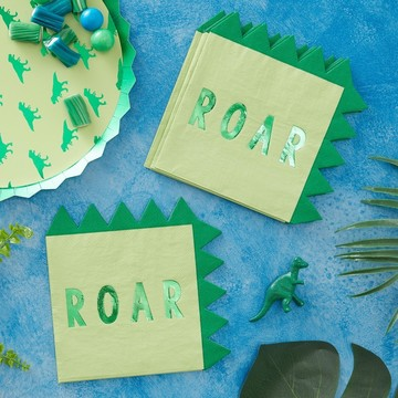 Ginger Ray Roarsome Dinosaur Spike Lunch Napkins, 16ct