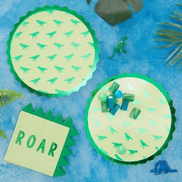Ginger Ray Roarsome Dinosaur Spike Lunch Plates, 8ct