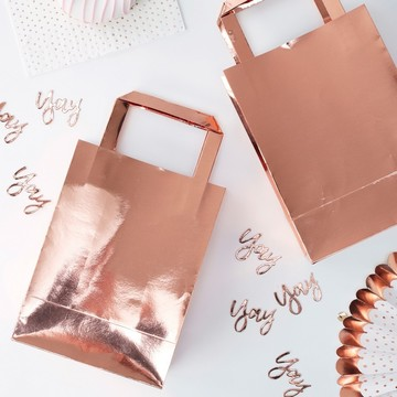 Ginger Ray Rose Gold Treat Bag, 5ct