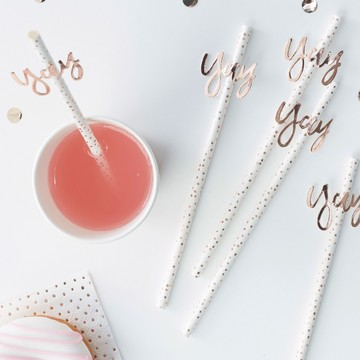 Ginger Ray Rose Gold Yay Straws, 16ct