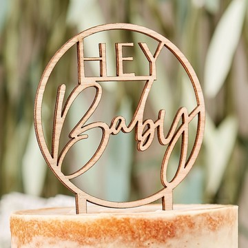 """Ginger Ray Wooden """"Hey Baby"""" Cake Topper"""