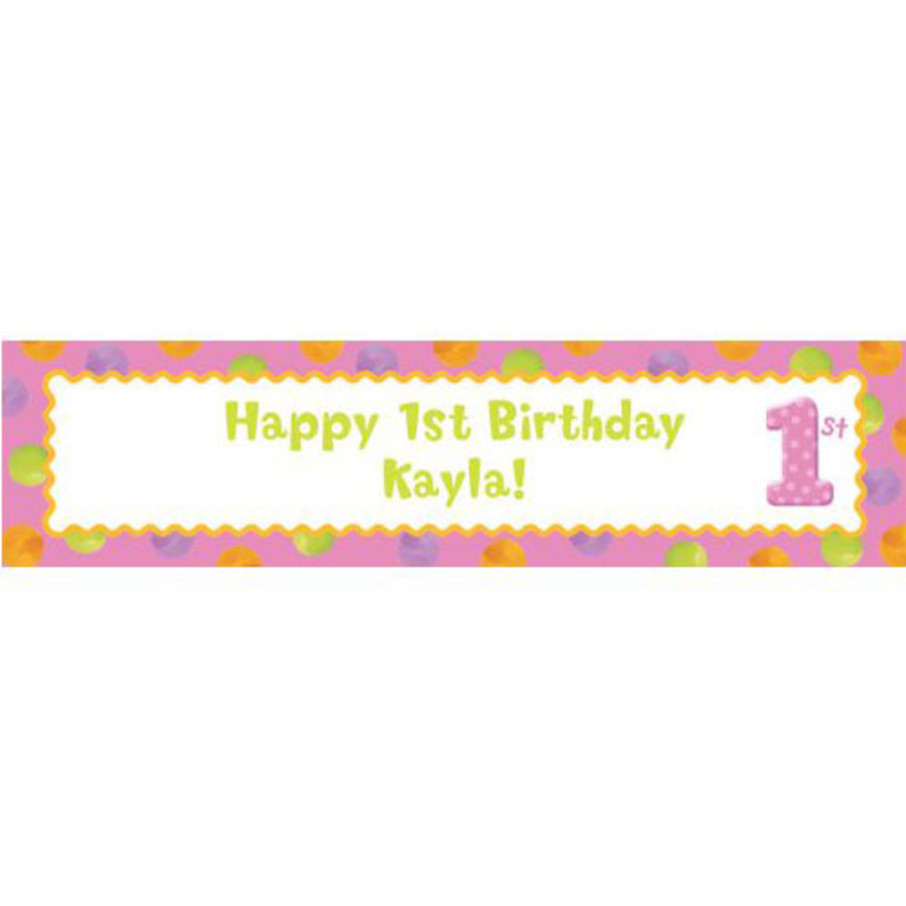 View larger image of Girls' Polka Dot 1st Birthday Personalized Banner (Each)