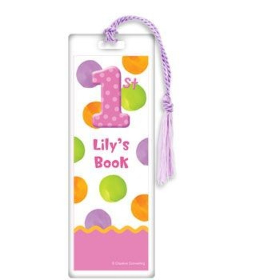 View larger image of Girls' Polka Dot 1st Birthday Personalized Bookmark (each)
