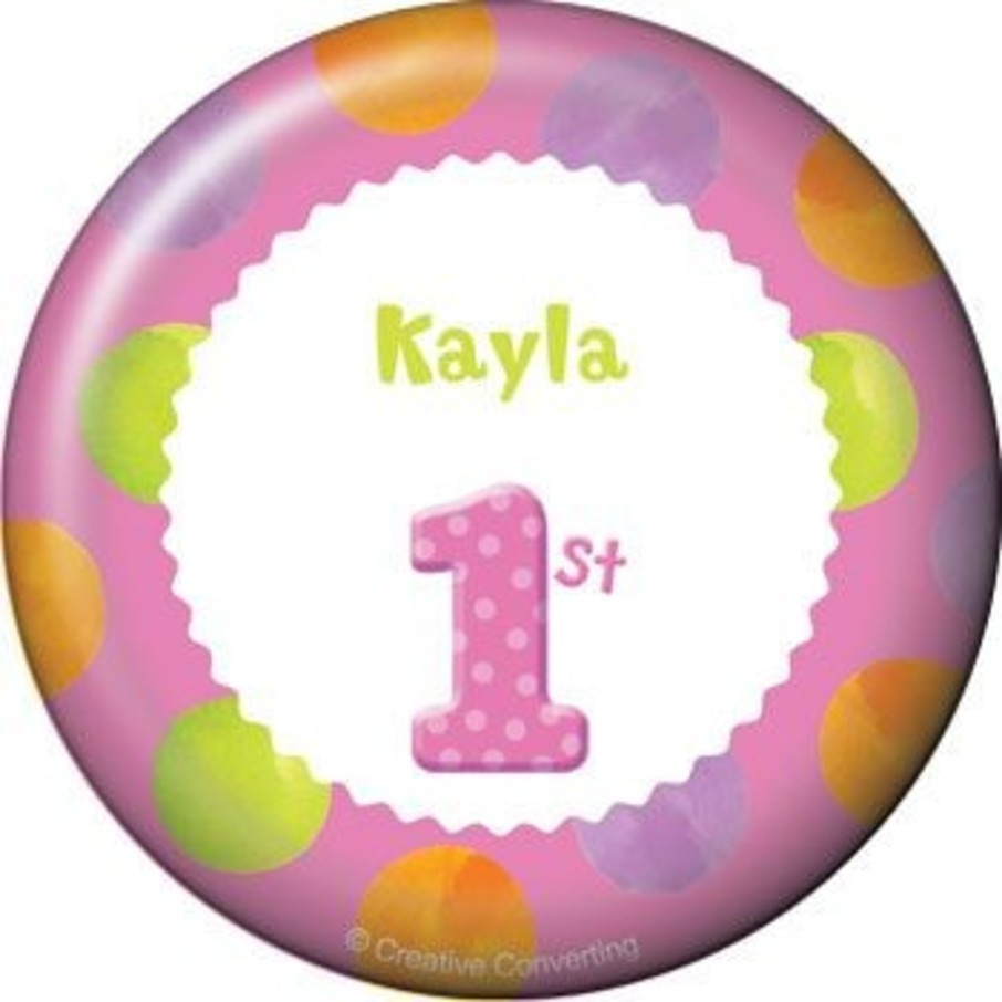 View larger image of Girls' Polka Dot 1st Birthday Personalized Button (each)