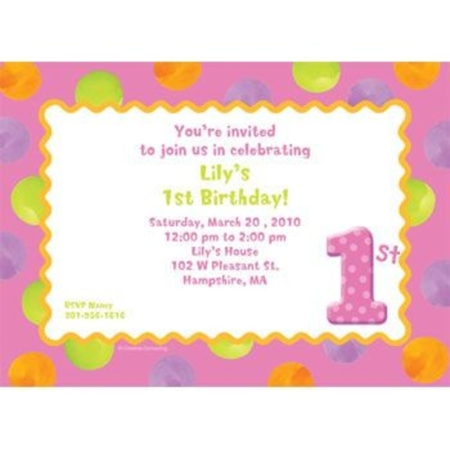 View larger image of Girls' Polka Dot 1st Birthday Personalized Invitation (each)