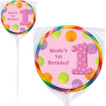 Girls' Polka Dot 1st Birthday Personalized Lollipops (pack of 12)