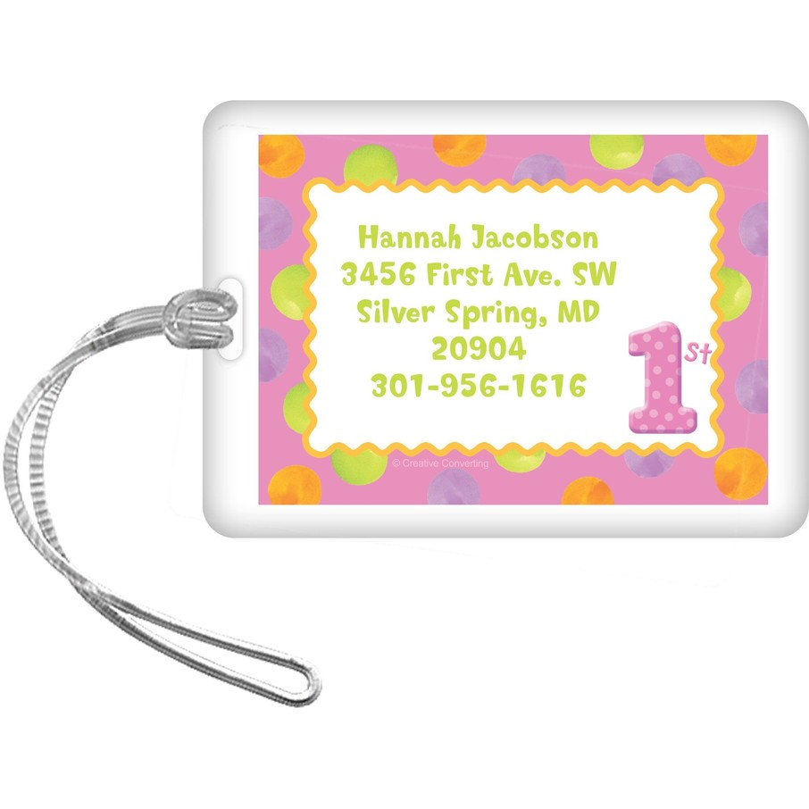 View larger image of Girls' Polka Dot 1st Birthday Personalized Luggage Tag (each)