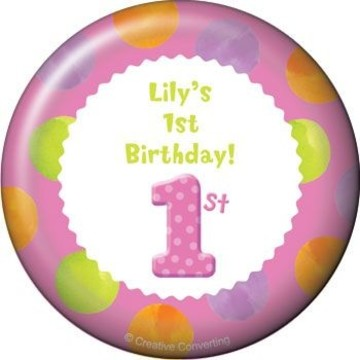 Girls' Polka Dot 1st Birthday Personalized Magnet (each)