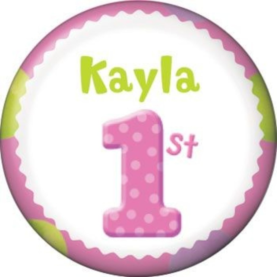 View larger image of Girls' Polka Dot 1st Birthday Personalized Mini Magnet (each)