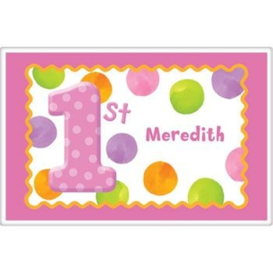 View larger image of Girls' Polka Dot 1st Birthday Personalized Placemat (each)
