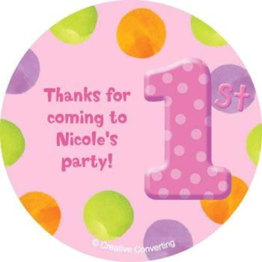 View larger image of Girls' Polka Dot 1st Birthday Personalized Stickers (sheet of 12)